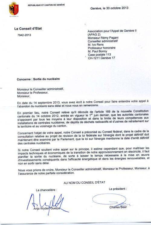 Réponse du Conseil d'Etat(Gouvernement) de Genève