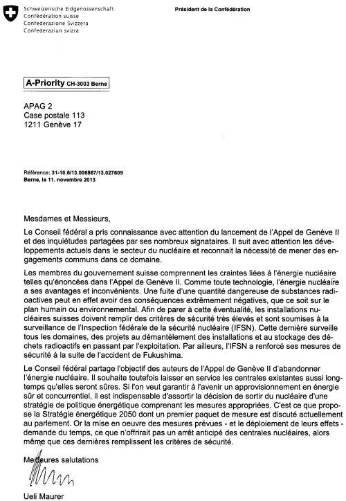 Réponse du Président de la Confédération suisse